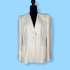 Giorgio Armani 100% silk creme blazer